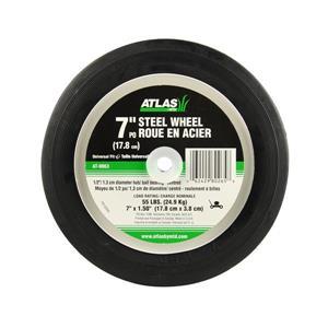 Roue de rechange Atlas en acier pour tondeuse à gazon, 7 po, moyeu centré