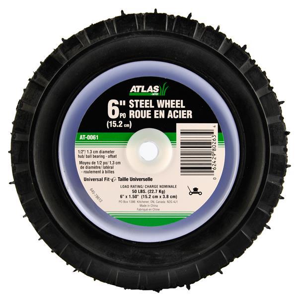 Atlas Replacement Steel Lawn Mower Wheel - 6-in