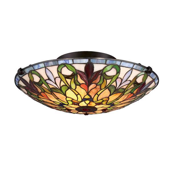 Semi-plafonnier à 2 lumières style Tiffany de Fine Art Lighting, verre, 5,5 po, bronze