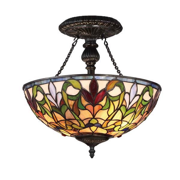 Semi-plafonnier à 2 lumières style Tiffany de Fine Art Lighting, verre, 16 po, bronze