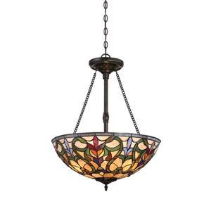 Fine Art Lighting Tiffany Pendant Light - Glass - 28-in - Bronze