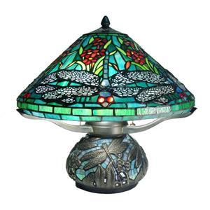 Fine Art Lighting Tiffany Style Table Lamp -16-in - Blue/Green