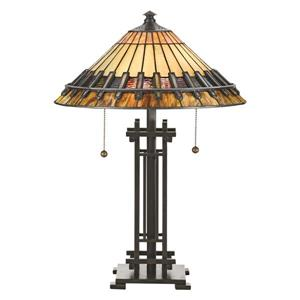 Lampe de table style Tiffany de Fine Art Lighting, verre, 23 po, fini bronze antique
