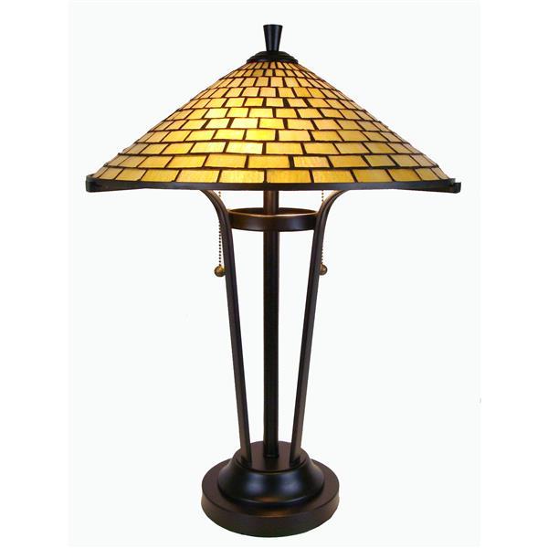 Fine Art Lighting Tiffany Contemporary Table Lamp - Glass - 24-in - Bronze