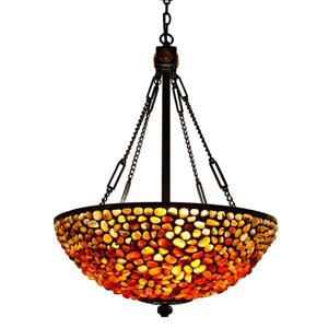 Lampe suspendue style Tiffany de Fine Art Lighting, 24 po, bronze ancien