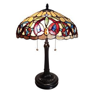 Lampe de table style Tiffany de Fine Art Lighting, verre, 23 po, bronze et rouge