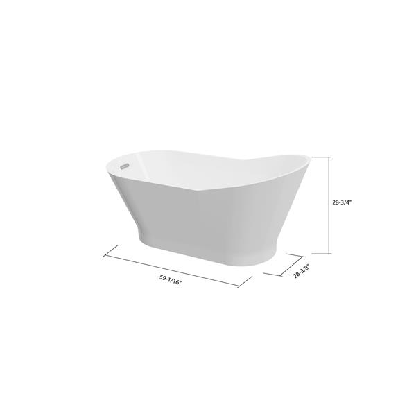 A&E Bath & Shower San Diego Freestanding Bathtub - 59-in - White