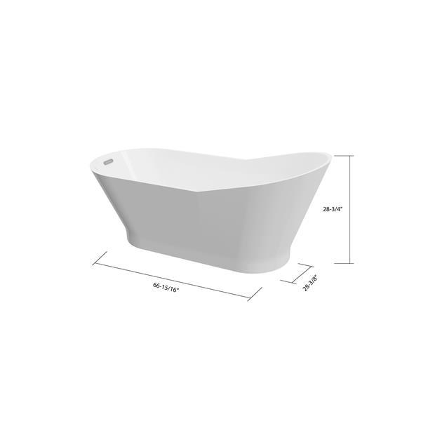 A&E Bath & Shower San Diego Freestanding Bathtub - 67-in - White