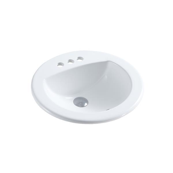 A&E Bath & Shower Ingrid Drop-in Ceramic Basin Sink, Glossy White