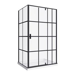 A&E Bath & Shower Taylor Bath Screen Shower Enclosure - 48-in - Black Matte