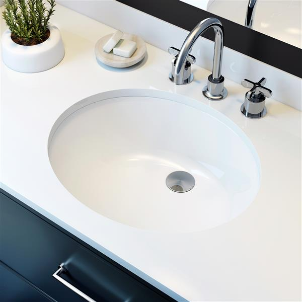 A&E Bath & Shower Sulu Undermount Ceramic Basin Sink, Glossy White