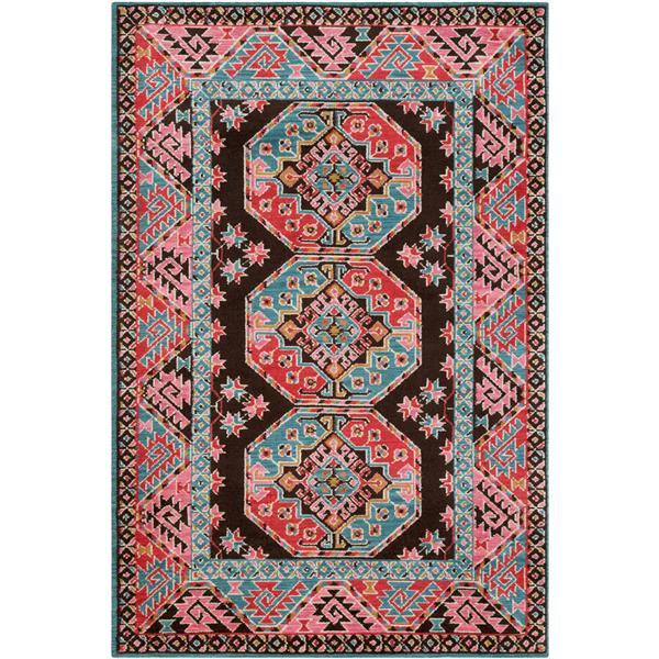 Surya Arabia Bohemian Area Rug - 5-ft  x 7-ft 6-in - Rectangular - Pink/Teal