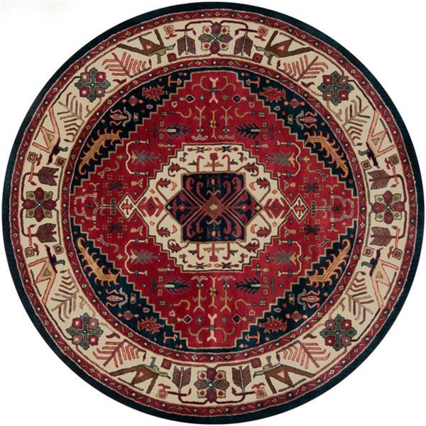 Surya Ancient Treasures Traditional Area Rug - 8-ft - Round - Burgundy