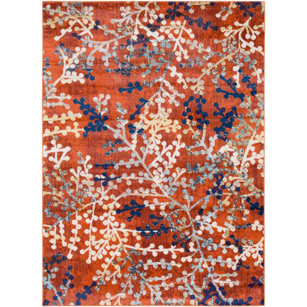 Surya Ararat Transitional Area Rug - 5-ft 3-in x 7-ft 3-in - Rectangular -  Bright Orange