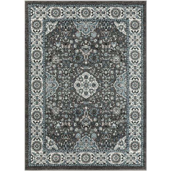 Surya Agra Updated Traditional Area Rug - 5-ft 3-in x 7-ft 3-in - Rectangular - Black