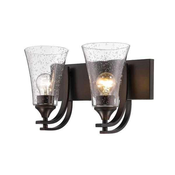 Millenium Lighting Natalie 2-Light Vanity Light With Clear Seeded Glass - Rubbed Bronze