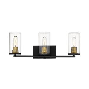Millenium Lighting Burbank Matte 3-Light Vanity Light With Clear Glass - Black/Heirloom Bronze