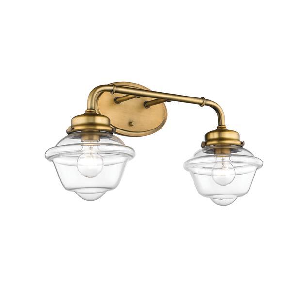 Millenium Lighting Neo-Industrial 2-Light Vanity Light With Clear Glass - Heirloom Bronze