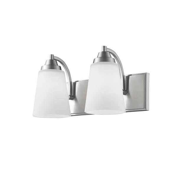 Millenium Lighting 2-Light Vanity Light With Etched White Glass - Satin Nickel
