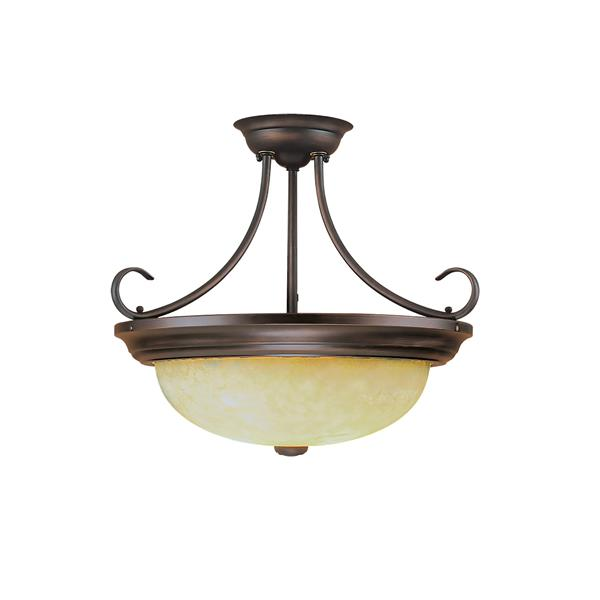 Millenium Lighting Semi-Flush Mount Light With Turinian Scavo Glass - 2 Lights - 17-in - Rubbed Bronze
