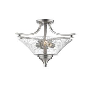 Millenium Lighting Natalie Semi-Flush Mount Light With Clear Seeded Glass - 3 Lights - Satin Nickel
