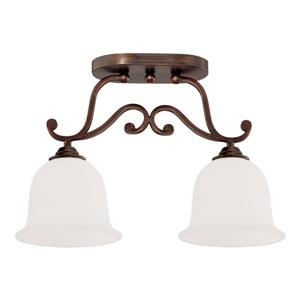 Millenium Lighting Courtney Lakes Semi-Flush Mount Light With Turinian Scavo Glass - 2 Lights - Rubbed Bronze