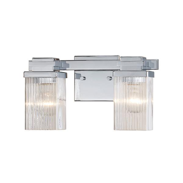 Millenium Lighting 2-Light Vanity Light With Clear Fluted Glass - Chrome