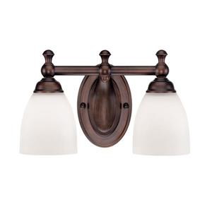 Millenium Lighting 2-Light Vanity Light With Etched White Glass - Rubbed Bronze