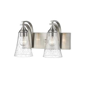 Millenium Lighting Natalie 2-Light Vanity Light With Clear Seeded Glass - Satin Nickel