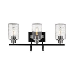 Millenium Lighting Clifton  3-Light Vanity Light With Clear Glass - Black/Brushed Nickel