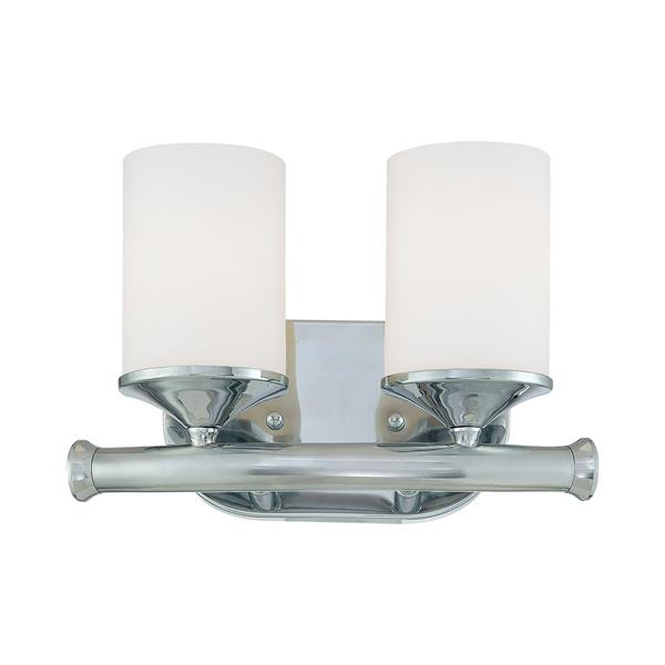Millenium Lighting 2-Light Vanity Light With Etched White Glass - Chrome
