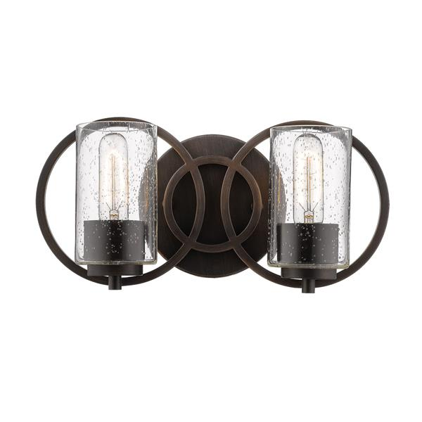 Millenium Lighting Delano 2-Light Vanity Light With Clear Seeded Glass -  Rubbed Bronze