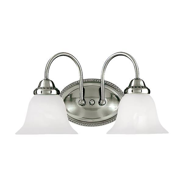 Millenium Lighting 2-Light Vanity Light With Faux Alabaster Glass - Satin Nickel