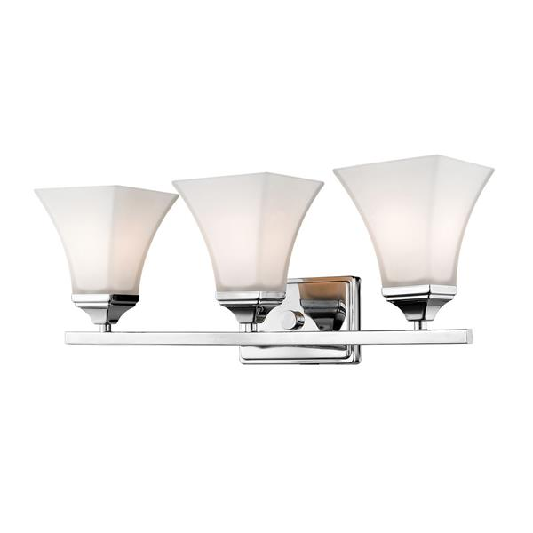 Millenium Lighting 3-Light Vanity Light With Etched White Glass - Chrome
