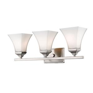 Millenium Lighting 3-Light Vanity Light With Etched White Glass - Brushed Nickel