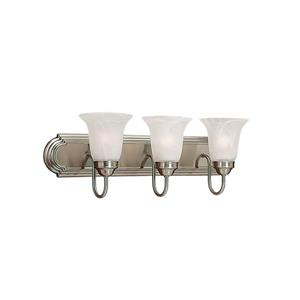 Millenium Lighting 3-Light Vanity Light With Faux Alabaster Glass - Satin Nickel