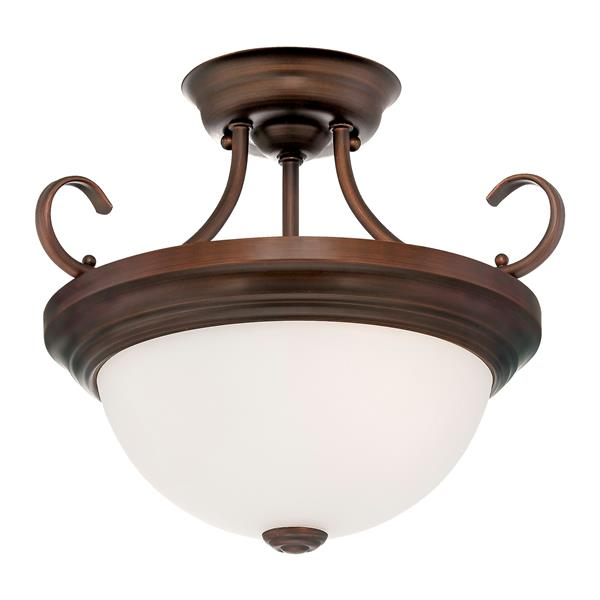 Millenium Lighting Semi-Flush Mount Light With Etched White Glass - 13-in - 2 Lights - Rubbed Bronze
