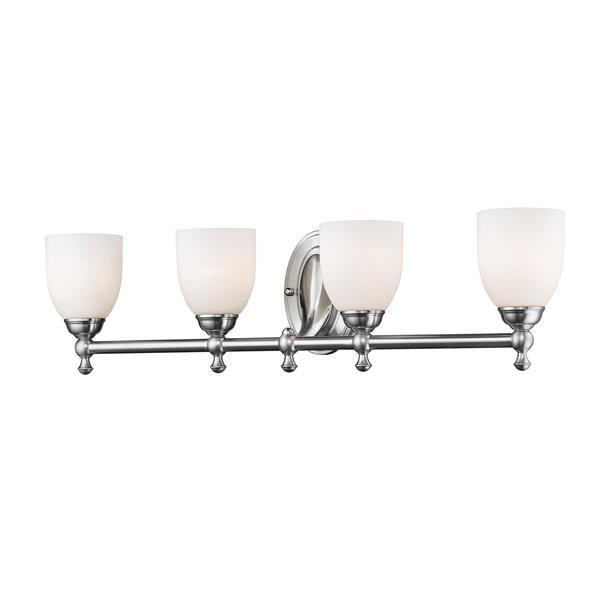 Millenium Lighting 4-Light Vanity Light With Etched White Glass - Satin Nickel