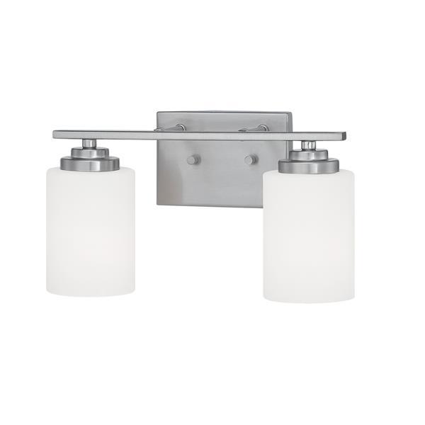 Millenium Lighting Durham 2-Light Vanity Light With Etched White Glass - Satin Nickel