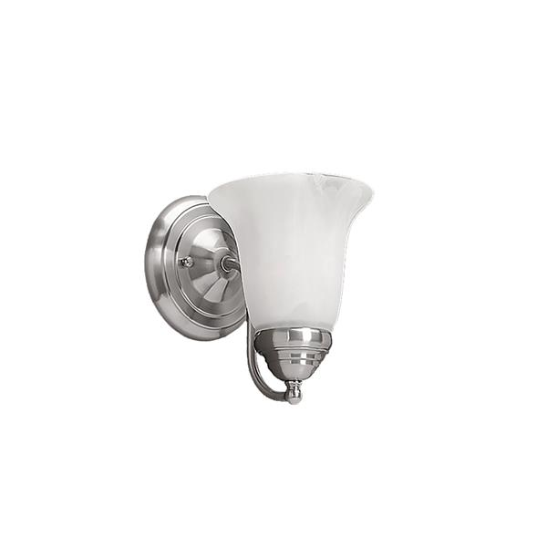 Millenium Lighting 1-Light Vanity Light With Faux Alabaster Glass - Satin Nickel