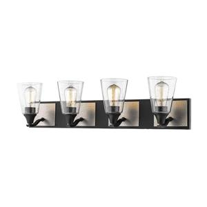 Millenium Lighting 4-Light Vanity Light With Clear Seeded Glass - Matte Black/Brushed Pewter