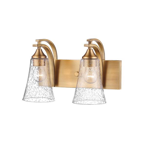 Millenium Lighting Natalie 2-Light Vanity Light With Clear Seeded Glass - Heirloom Bronze