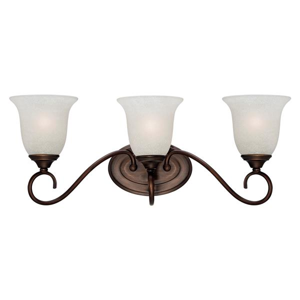 Millenium Lighting 3-Light Vanity Light With India Scavo Glass - Rubbed Bronze