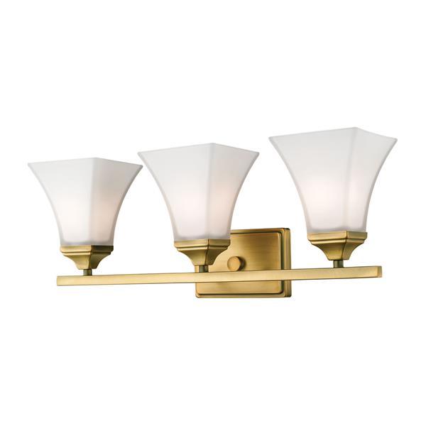 Millenium Lighting 3-Light Vanity Light With Etched White Glass - Heirloom Bronze