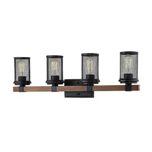 Millenium Lighting Mesa 4-Light Vanity Light - Matte Black/Wood Grain