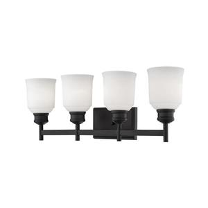 Millenium Lighting Burbank 4-Light Vanity Light With Etched White Glass - Matte Black