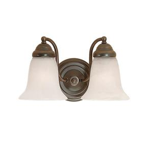 Millenium Lighting 2-Light Vanity Light With Faux Alabaster Glass - Colonial Bronze
