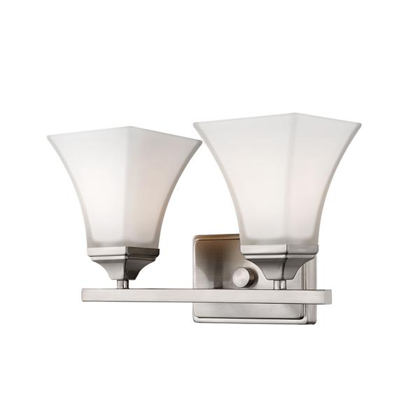Millenium Lighting 2-Light Vanity Light With Etched White Glass - Brushed Nickel
