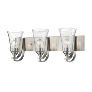 Millenium Lighting Natalie 3-Light Vanity Light With Clear Seeded Glass - Satin Nickel