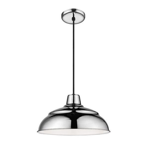 Millenium Lighting R Series Warehouse 1-Light Cord Hung Pendant Light - 14-in - Polished Nickel
